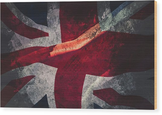 Union Jack Fine Art, Abstract Vision Of Great Britain Flag Wood Print