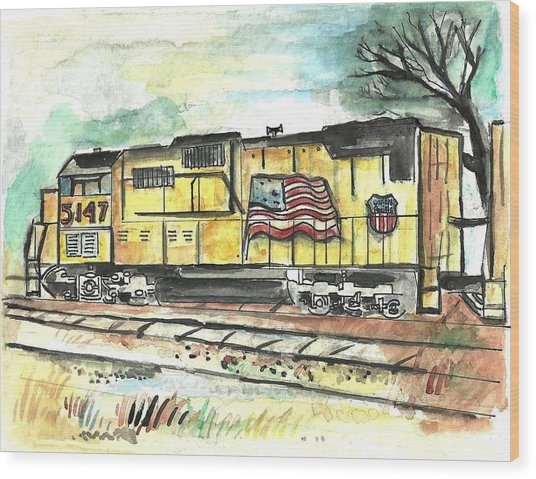 Union Pacific Engine Wood Print
