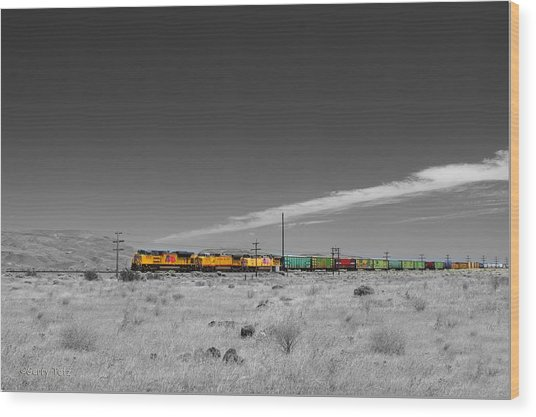 Union Pacific In Columbia Gorge Wood Print