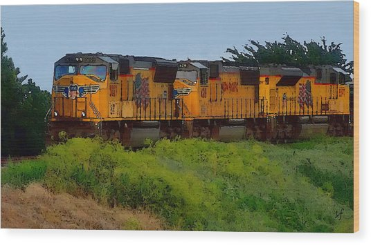 Wood Print featuring the digital art Union Pacific Line by Shelli Fitzpatrick