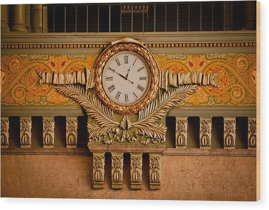 Union Station Clock Wood Print