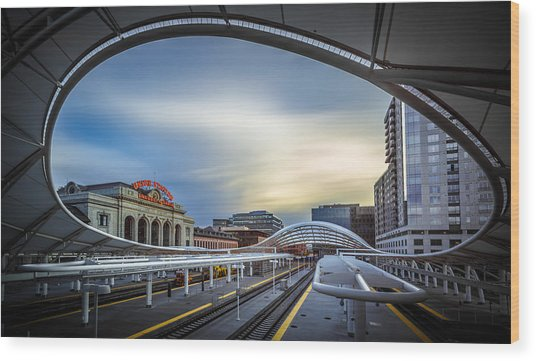 Union Station Denver - Slow Sunset Wood Print by Jan Abadschieff
