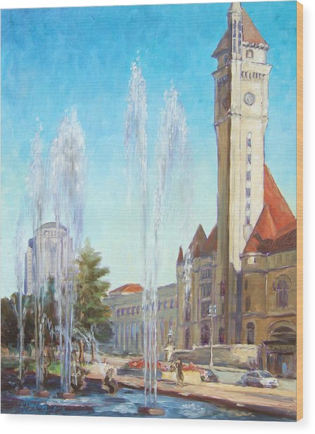 Union Station In St.louis Wood Print