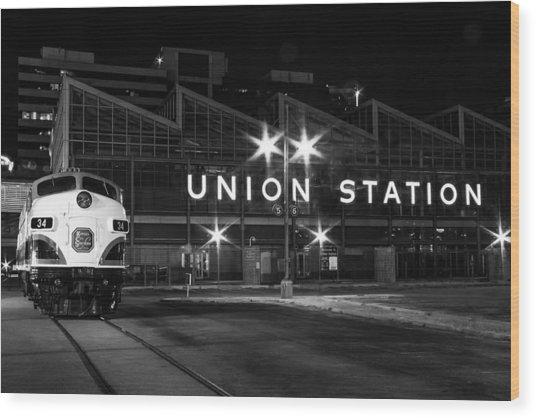 Union Station Night Glow Wood Print