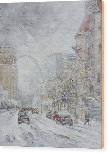 Union Station, St.louis - Winter Storm Wood Print