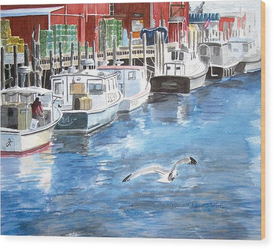 Wood Print featuring the painting Union Wharf by Dominic White