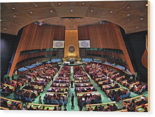 United Nations General Assembly Wood Print