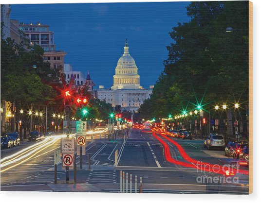 United States Capitol Along Pennsylvania Avenue In Washington, D.c.   Wood Print