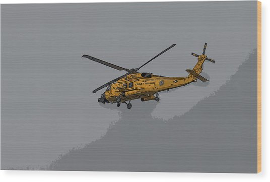United States Coast Guard Helicopter Wood Print