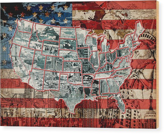 United States Drawing Collage Map 6 Wood Print