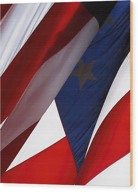 United States Flag Abstract Wood Print