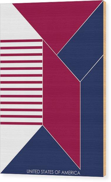 United States Of America IIi - Text Wood Print by Asbjorn Lonvig