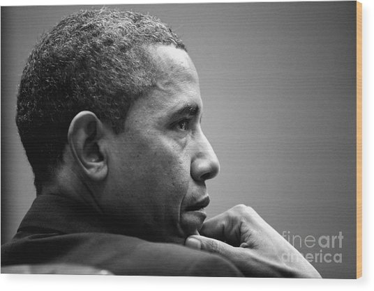 United States President Barack Obama Bw Wood Print