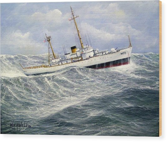 United Statescoast Guard Cutter Ingham Wood Print by William H RaVell III