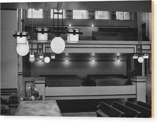 Unity Temple Interior Black And White Wood Print
