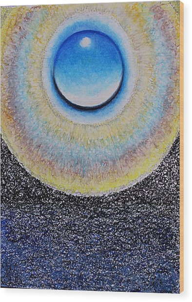 Universal Eye In Blue Wood Print