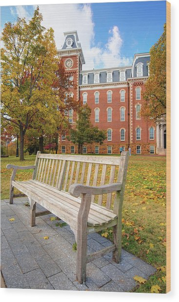 University Of Arkansas Campus In Fall - Old Main Building Wood Print