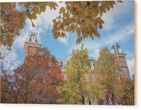 University Of Arkansas Razorback Campus During Autumn Wood Print