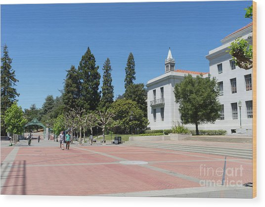 University Of California At Berkeley Sproul Plaza Sather Gate And Sather Tower Campanile Dsc6247 Wood Print