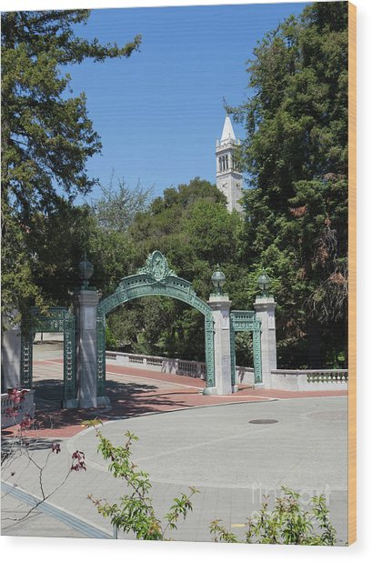 University Of California At Berkeley Sproul Plaza Sather Gate And Sather Tower Campanile Dsc6262 Wood Print