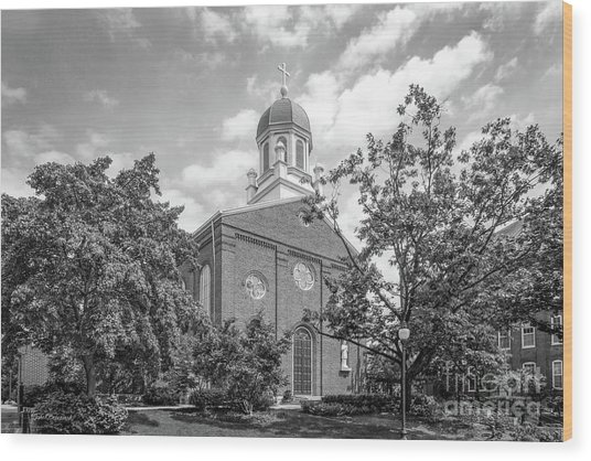 University Of Dayton Chapel Wood Print