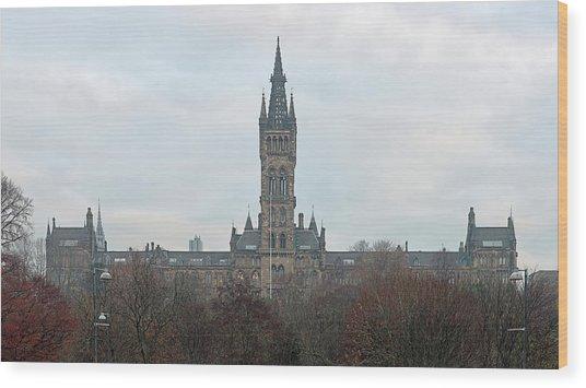 University Of Glasgow At Sunrise - Panorama Wood Print