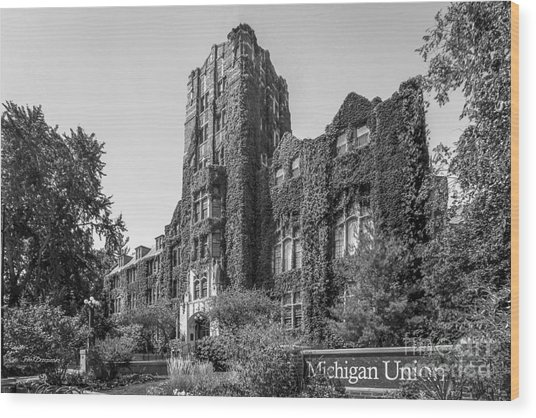University Of Michigan Michigan Union Wood Print