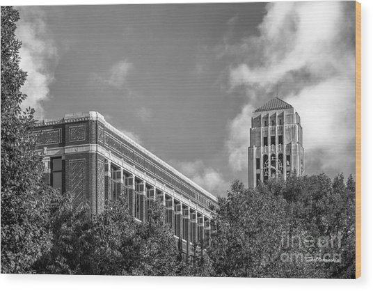 University Of Michigan Natural Sciences Building With Burton Tower Wood Print