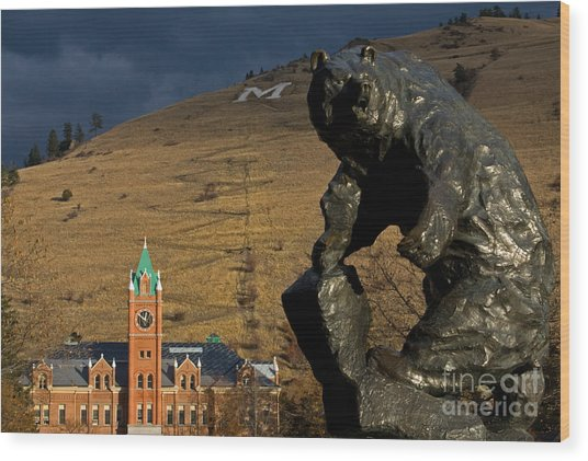 University Of Montana Icons Wood Print