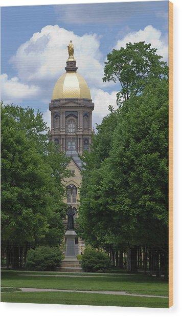 University Of Notre Dame Golden Dome Wood Print