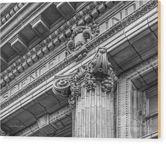 University Of Pennsylvania Column Detail Wood Print