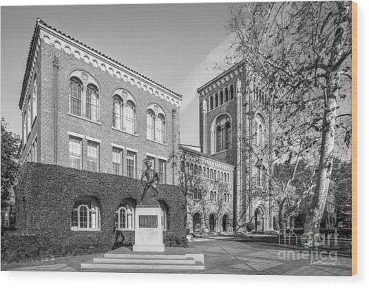 University Of Southern California Admin Bldg With Tommy Trojan Wood Print