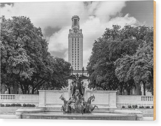 University Of Texas Austin Littlefield Fountain Wood Print