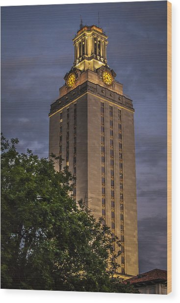 University Of Texas Tower Wood Print