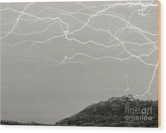 Unreal Lightning Wood Print
