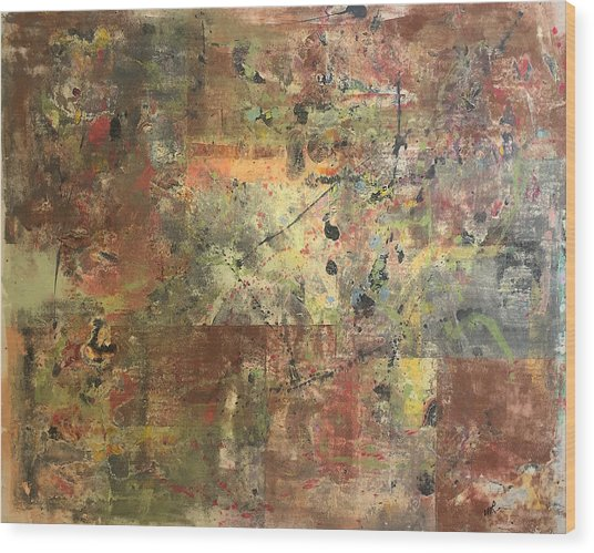 Untitled Clay Monotype Wood Print by William Renzulli