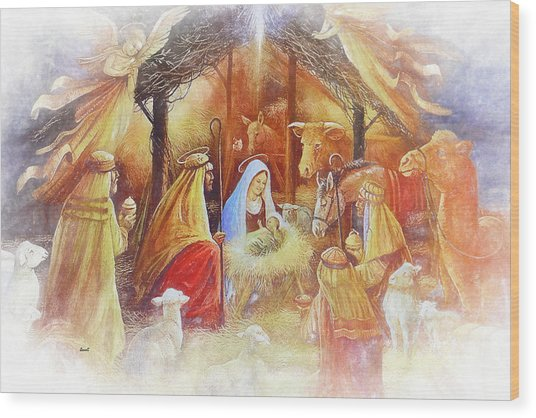 Unto Us A Savior Is Born Wood Print