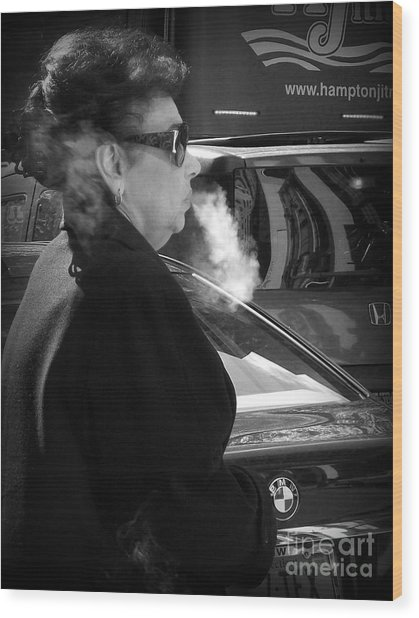 Up In Smoke - Woman With Cigarette Wood Print by Miriam Danar