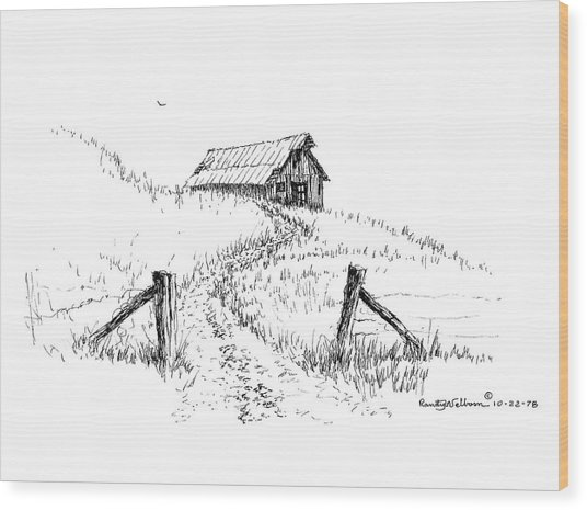 Up The Hill To The Old Barn Wood Print