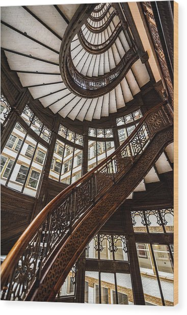 Up The Iconic Rookery Building Staircase Wood Print