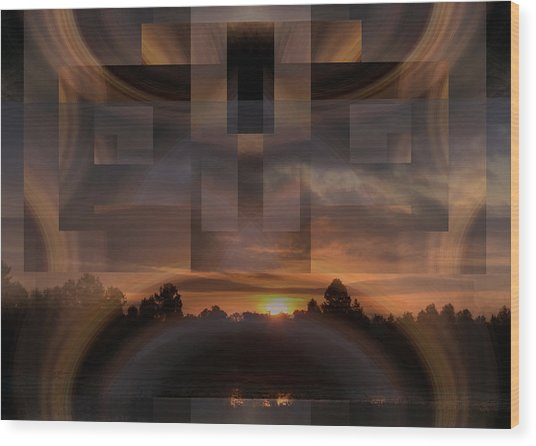 Up There In The Sky At Dawn Wood Print by rd Erickson