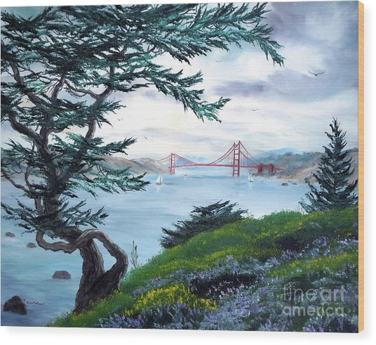 Upon Seeing The Golden Gate Wood Print