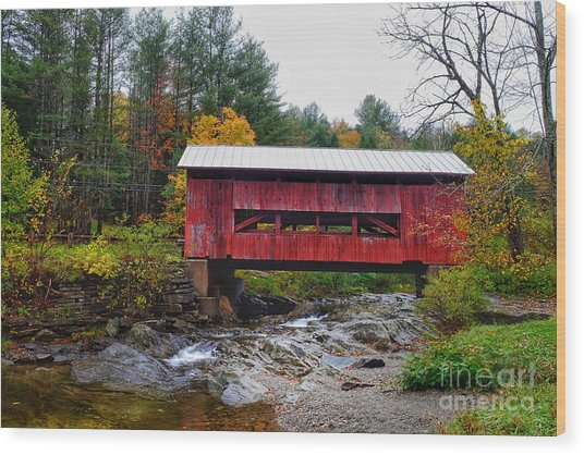 Wood Print featuring the photograph Upper Cox Brook Covered Bridge In Northfield Vermont by T Lowry Wilson