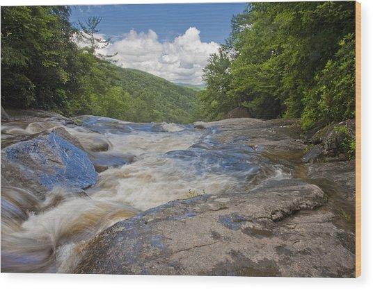 Upper Creek Waterfalls Wood Print