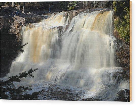 Upper Falls Gooseberry River Wood Print