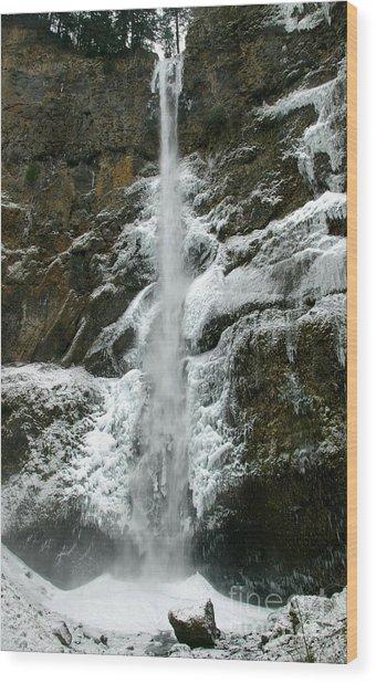 Upper Multnomah Falls Ice Wood Print