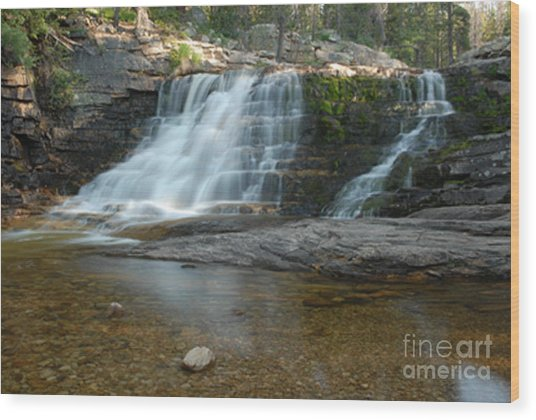 Upper Provo River Falls Wood Print by Dennis Hammer