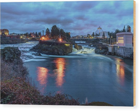Upper Spokane Falls At Dusk Wood Print
