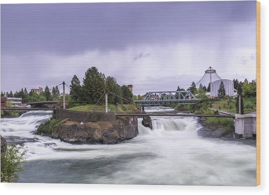 Upper Spokane Falls On A Rainy Day Wood Print