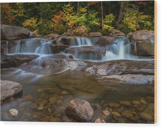Upper Swift River Falls In White Mountains New Hampshire Wood Print